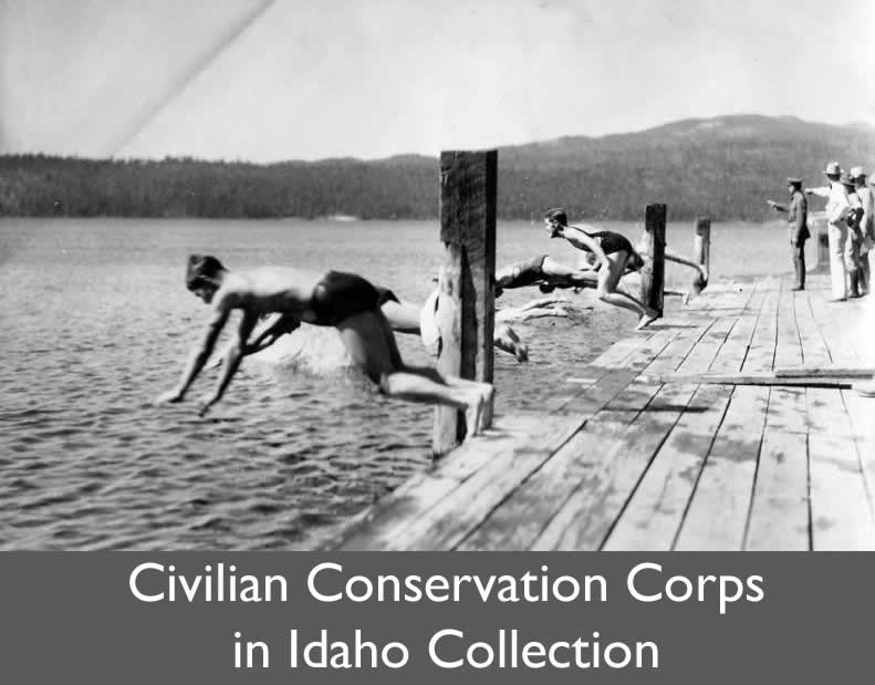 Boys jumping off a pier and label for CCC Collection